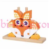 Консруктор-пирамидка-пазл оранжевый