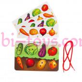 Шнуровка с заданиями Овощи